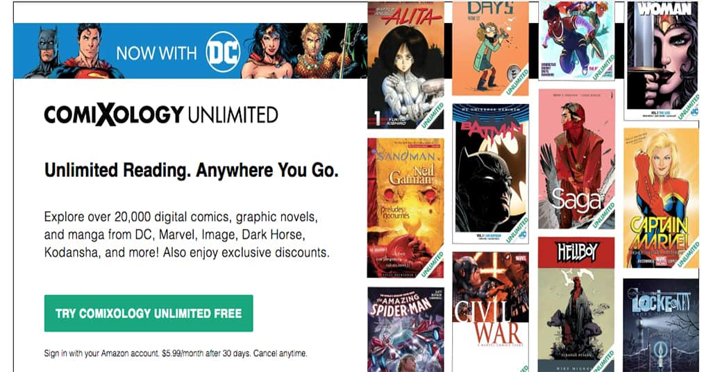 DC Hits ComiXology Unlimited, Kindle Unlimited & Prime