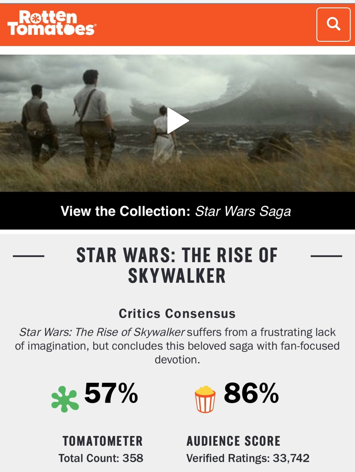 rotten tomatoes rise of skywalker